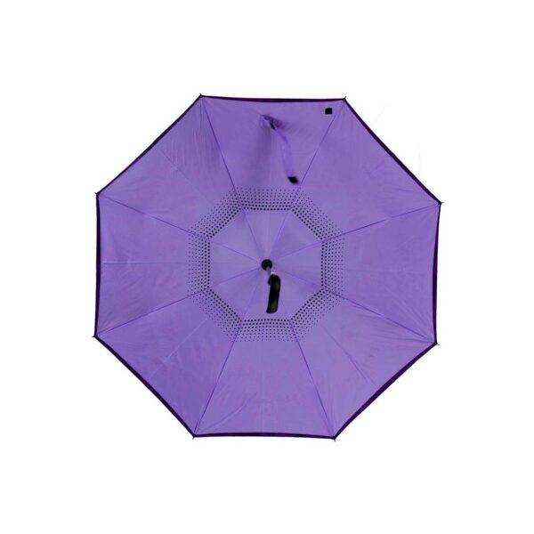 Женский зонт трость наоборот фиолетовый-сиреневый
