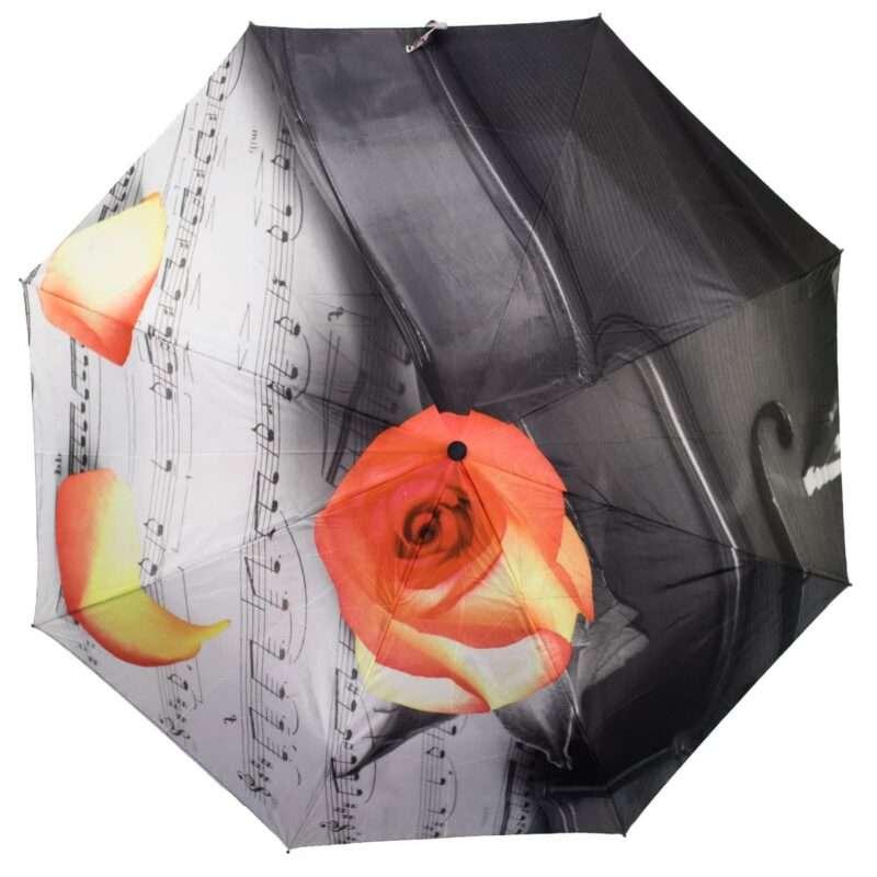 Женский зонт полный автомат-роза и ноты