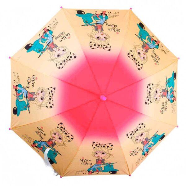 Детский зонт трость-девочка на мопеде