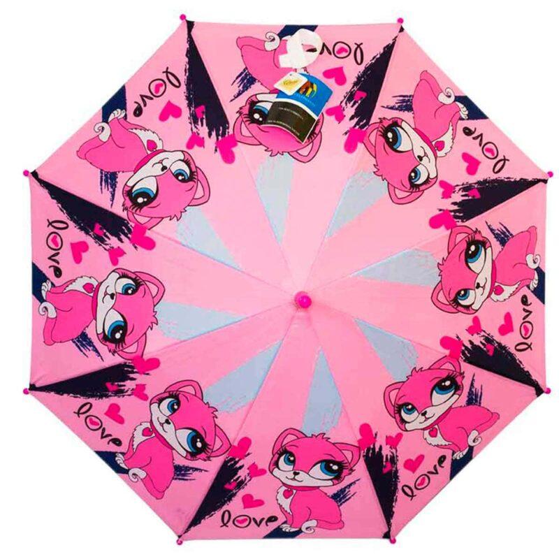 Детский зонт трость-розовый котенок
