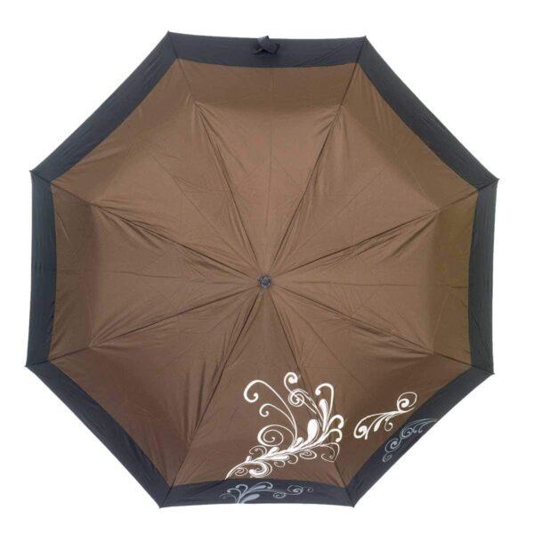 ОднотЖенский зонт полный автомат коричневого цвета lKoboldонный зонт с каймой полный автомат-Три Слона