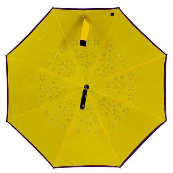 Женский зонт трость наоборот сиреневый-желтый
