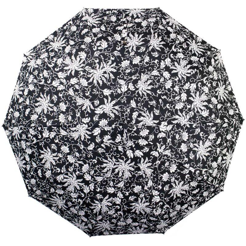 Зонт полный автомат черно-белый цветы