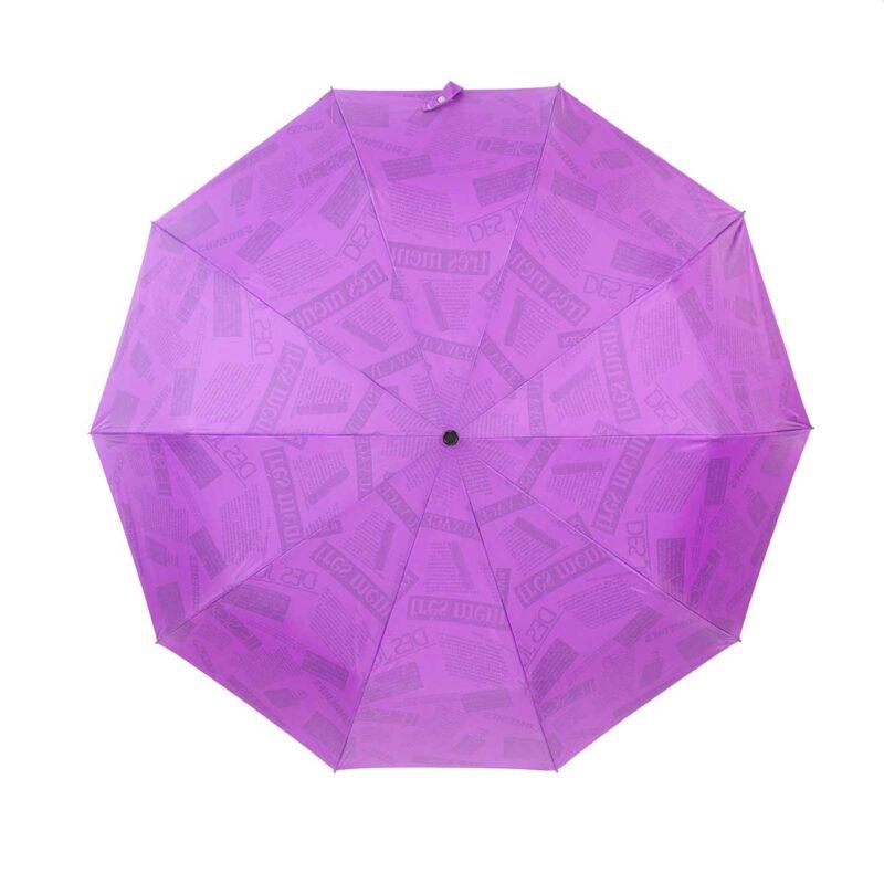 Зонт двухсторонний фиолетовый газета-Три Слона