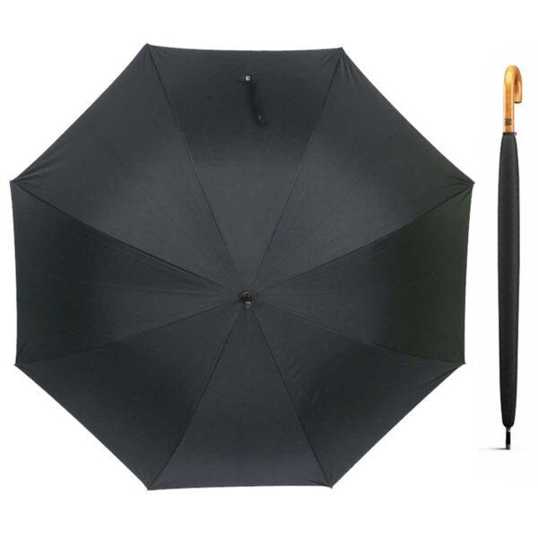 Зонт-трость с деревянной ручкой черный