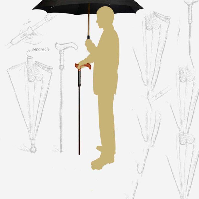 Зонт трость ортопедическая для ходьбы черно-серый цвет в мелкую клетку