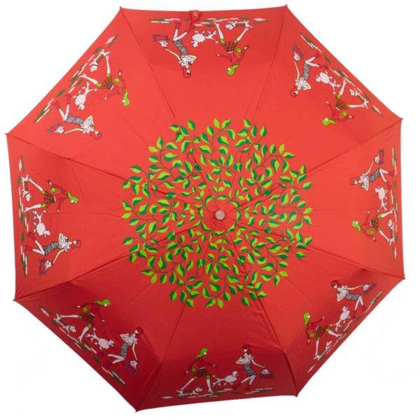 Женский зонт красного цвета полный автомат-Kobold