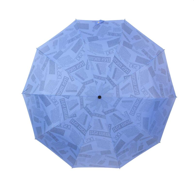 Зонт двухсторонний голубого цвета газета-Три Слона