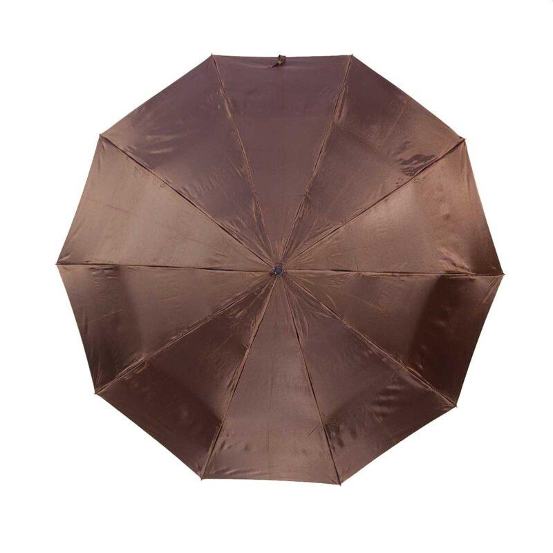 Зонт двухсторонний темно шоколадный цвет газета-Три Слона