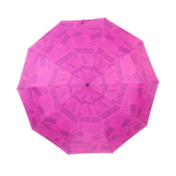 Зонт двухсторонний розового цвета газета-Три Слона