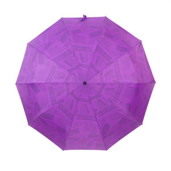 Зонт двухсторонний ярко фиолетовый газета-Три Слона