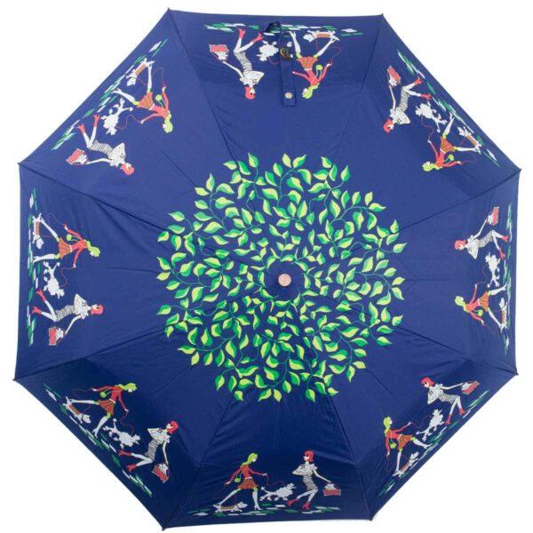 Женский зонт полный автомат синего цвета-Kobold
