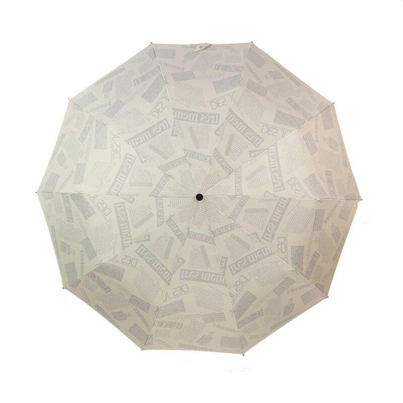 Зонт двухсторонний газета цвет слоновая кость-Три Слона