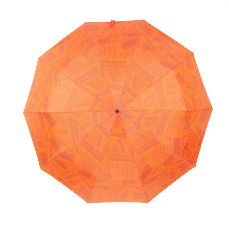Зонт двухсторонний оранжевого цвета газета-Три Слона