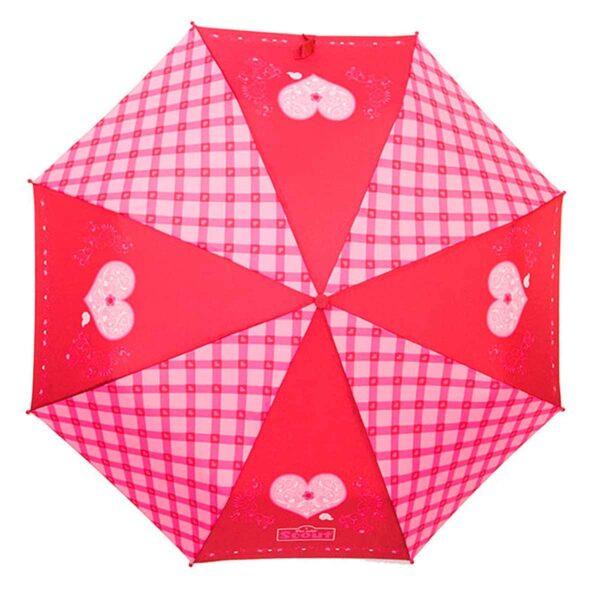 Детский зонт складной с рисунком сердечки