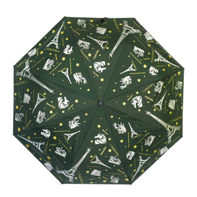 Женский зонт doppler-полный автомат зелёного цвета