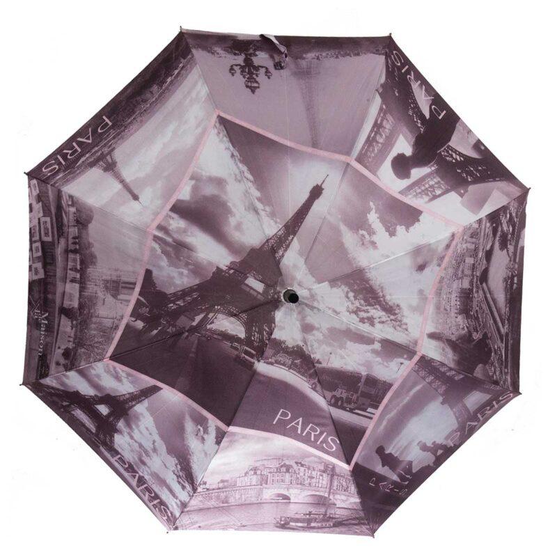 Женский зонт трость полуавтомат-Париж |Три Слона