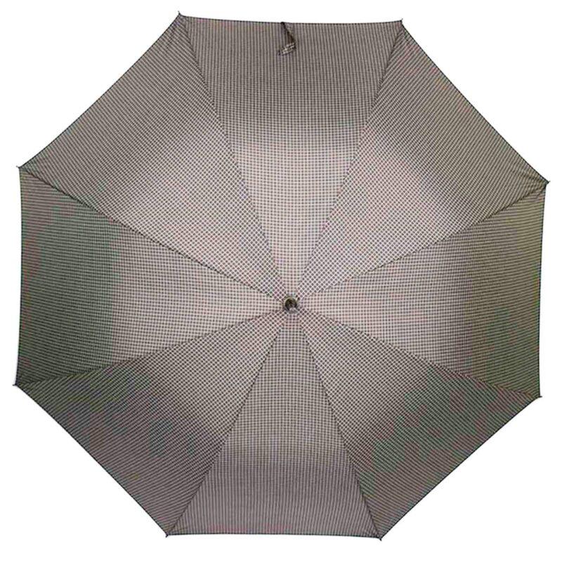 Зонт-трость с деревянной ручкой в мелкую клетку