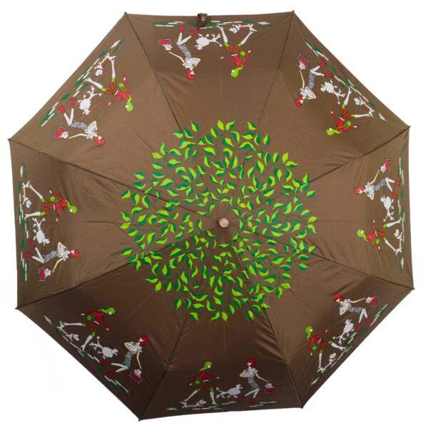 Женский зонт коричневого цвета полный автомат-Kobold