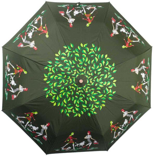 Женский зонт зеленого цвета полный автомат-Kobold