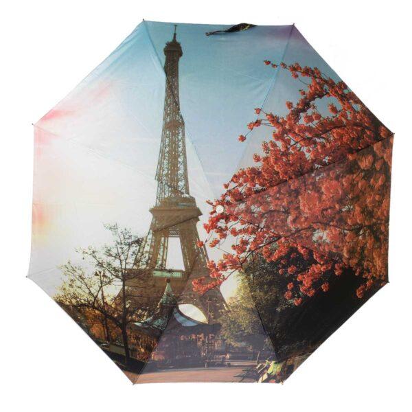 Зонт Три Слона полный автомат с фонариком-Эйфелева башня