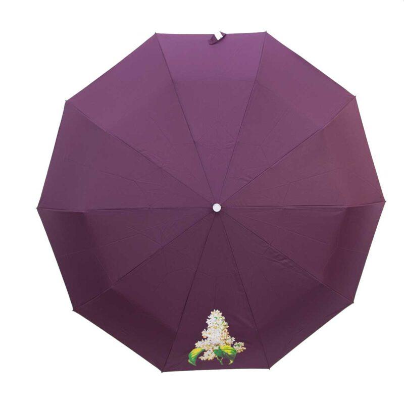 Женский зонт полный автомат однотонный cливовый цвет-Три Слона