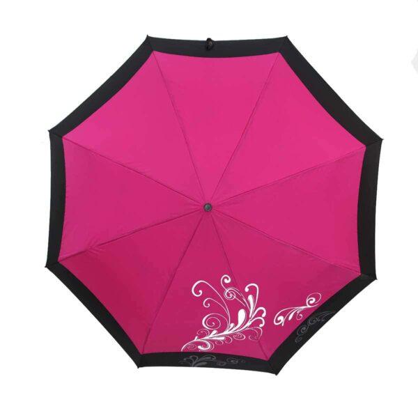 Однотонный зонт с каймой полный автомат-Три Слона