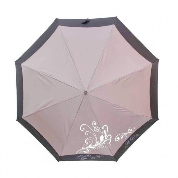 Зонт серого цвета с каймой полный автомат-Три Слона