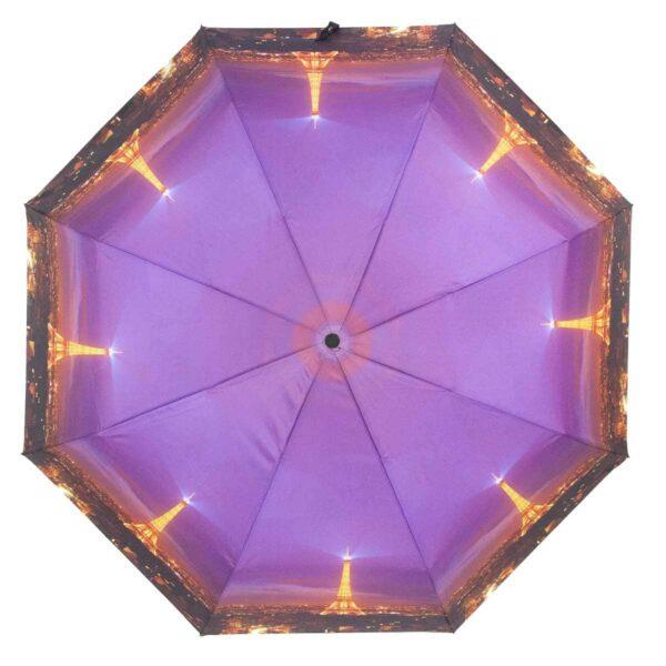 Зонт фиолетового цвета Эйфелева башня полный автомат