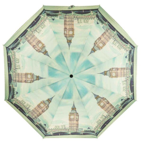 Зонт полный автомат серо голубого цвета