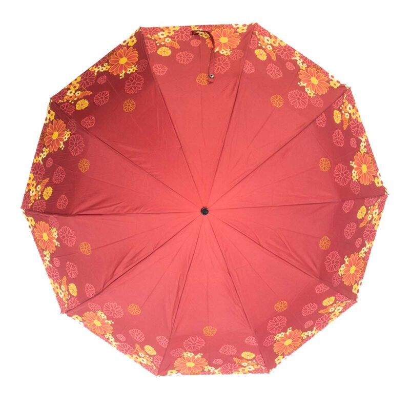 Женский зонт красного цвета полный автомат