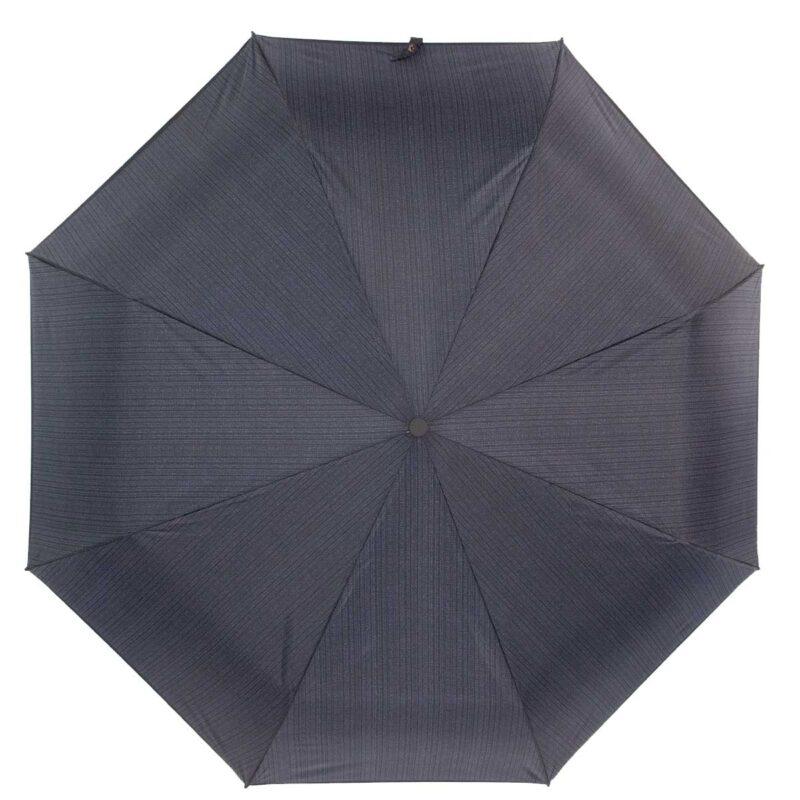 Мини зонт механический черно серого цвета в полоску
