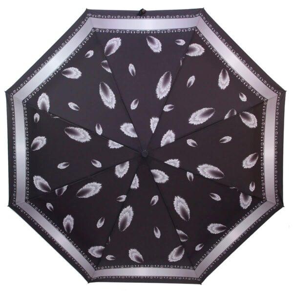 Зонт черного цвета с принтом перья