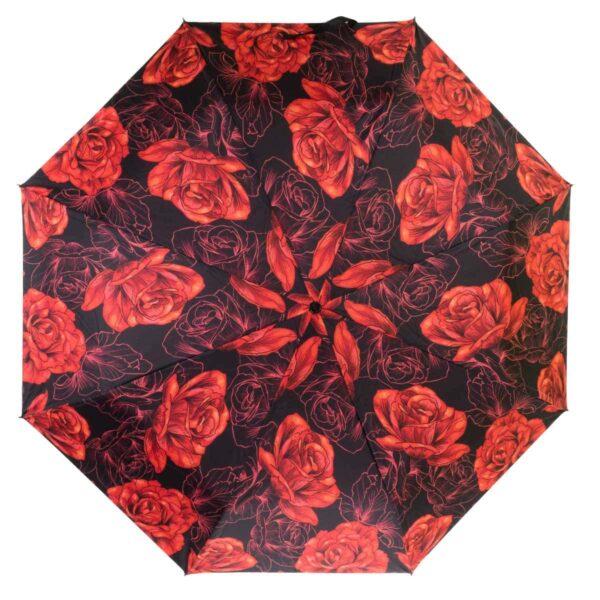Зонт полный автомат-красная роза