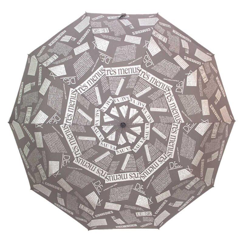 Женский зонт серого цвета газета полный автомат