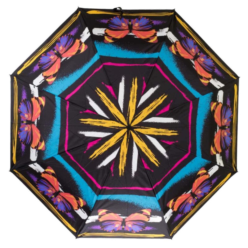 Женский зонт полный автомат бабочки черного цвета