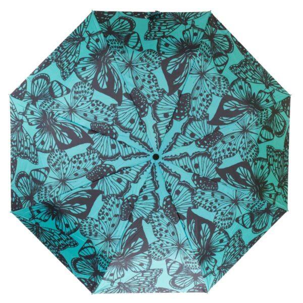 Зонт абстракция черно-бирюзового цвета