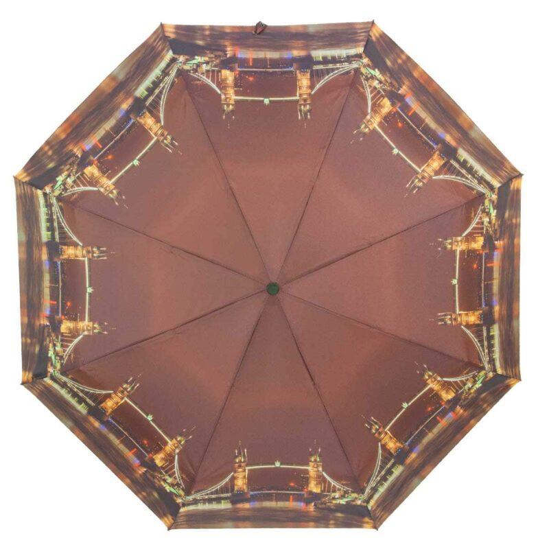 Зонт коричневого цвета с принтом