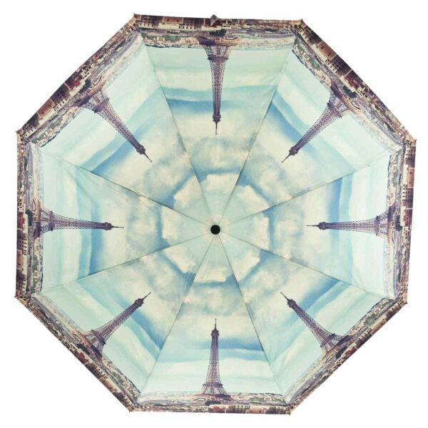Зонт голубого цвета Эйфелева башня полный автомат