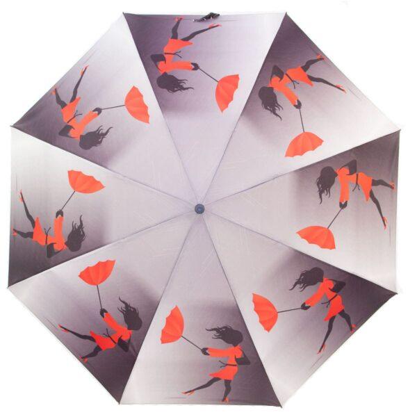 Зонт полный автомат девушка с красным зонтом