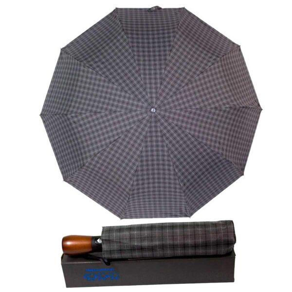 Зонт с деревянной ручкой Три Слона полный автомат в клетку
