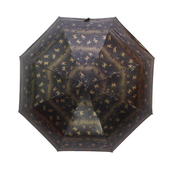 Зонт лаке черно-золотистый полный автомат бабочки-Три Слона
