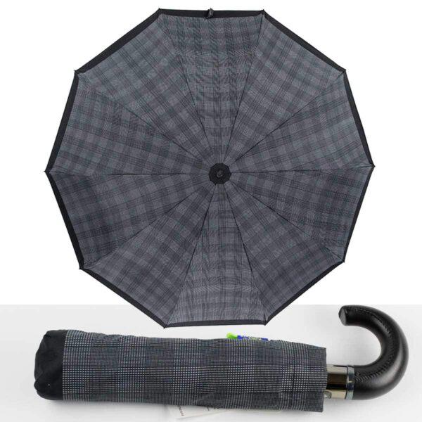 Мужской зонт Три Слона полный автомат в клетку