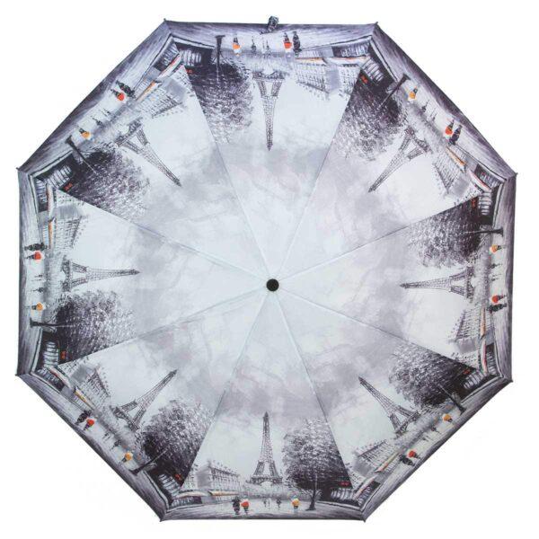Зонт Эйфелева башня полный автомат серого цвета