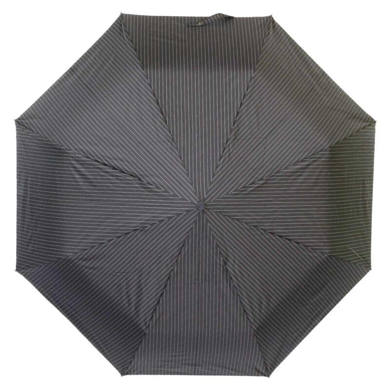 Зонт полуавтомат черно серого цвета в полоску