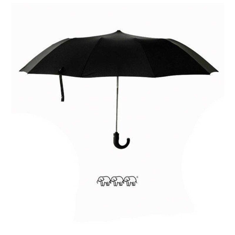 Мужской зонт полуавтомат 2 сложения черного цвета