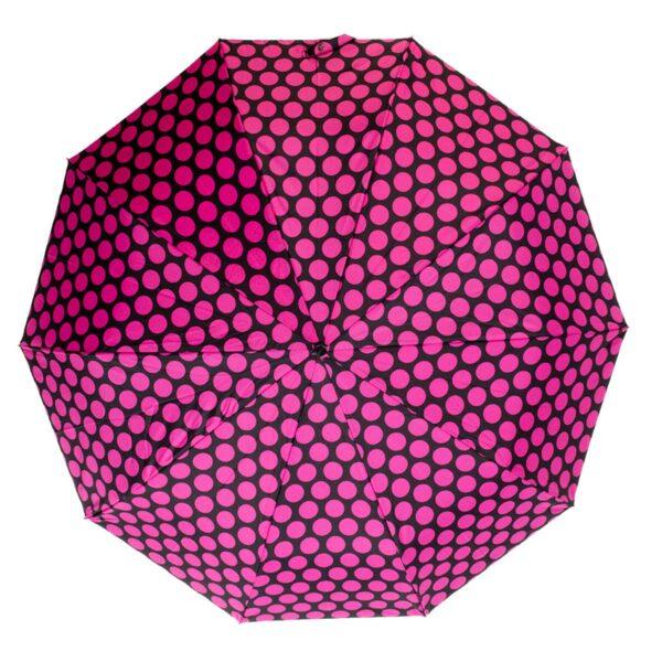 Женский зонт малиновый горох полный автомат