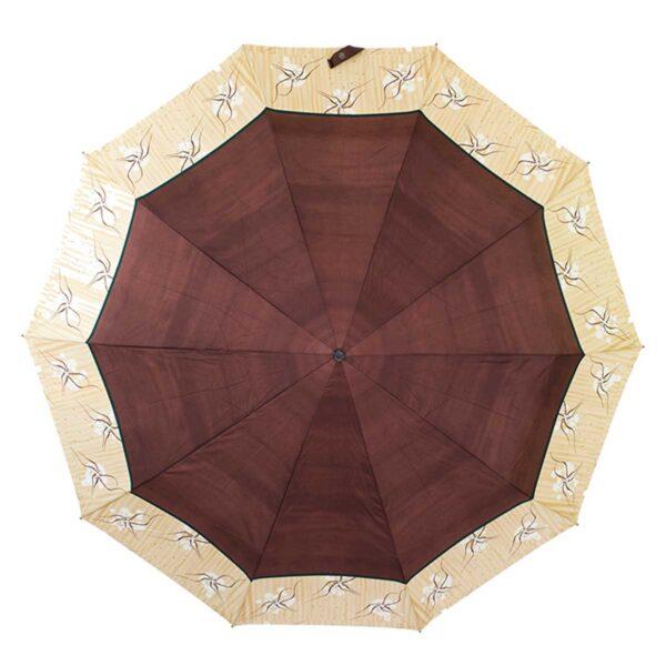 Женский зонт Три Слона коричного цвета полный автомат
