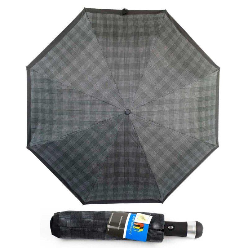 Зонт с фонариком полный автомат в клетку