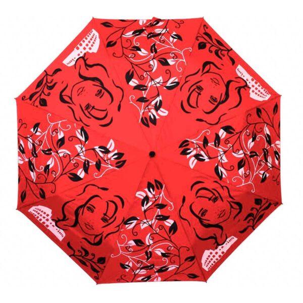 Женский зонт красного цвета
